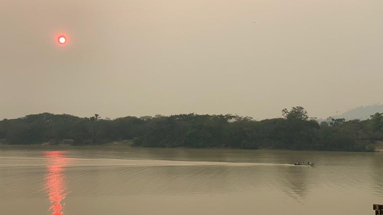 Smog over the river in Sao Felix do Xingu