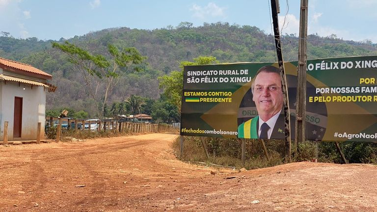 A poster supporting President Bolsonaro in Sao Felix do Xingu
