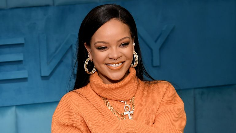 Robyn Rihanna Fenty and Linda Fargo celebrate the launch of FENTY at Bergdorf Goodman at Bergdorf Goodman on February 07, 2020 in New York City