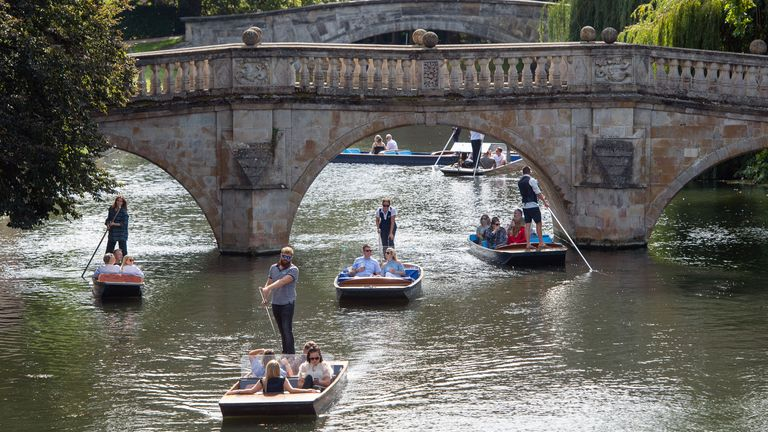 People have been enjoying a punt on the River Cam in Cambridge