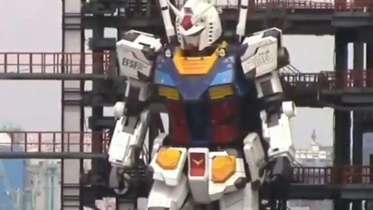59-foot tall anime robot Gundam showcased in Yokohama