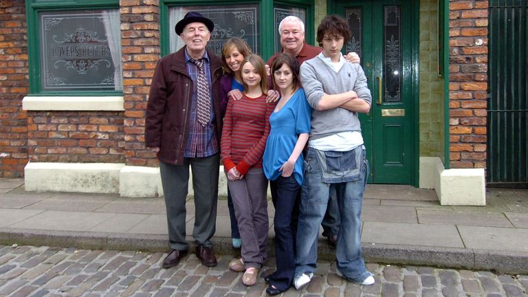 The 'Morton Family' are introduced to Coronation Street during a photocall at Granada Studios in Manchester (left-right) Grandad Morton (Rodney Litchfield), Jodie Morton (Samantha Seager), Jerry Morton (Michael Starkey), Darryl Morton (Jonathan Dixon), (Front) Kayleigh Morton (Jessica Barden) and Mel Morton (Emma Edmondson).