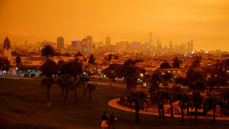 San Francisco residents awoke to hazy skies on the morning of September 9, as wildfires burning in the state cast an orange hue