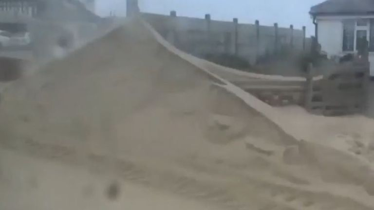 Storm throws up mountains of sand in Norfolk
