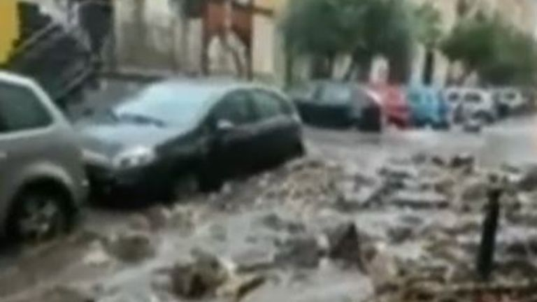 Flooding causes rivers of mud in Italian town