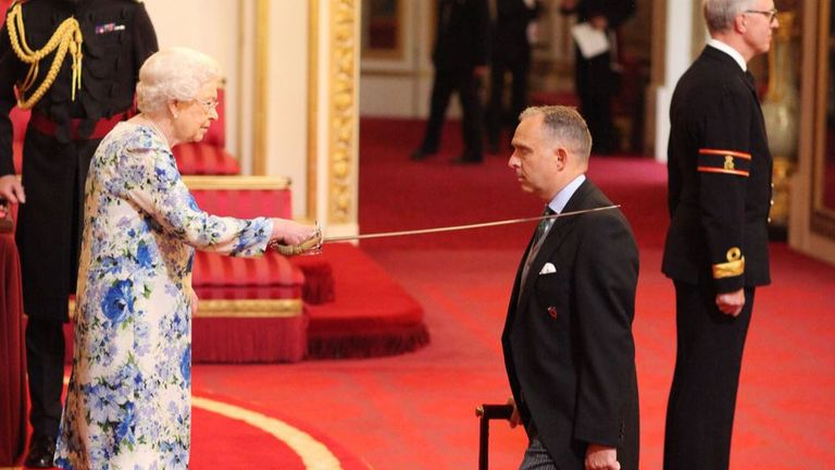 Sir Mark Sedwill was made a Knight Commander of the Order of St Michael and St George, by Queen Elizabeth II