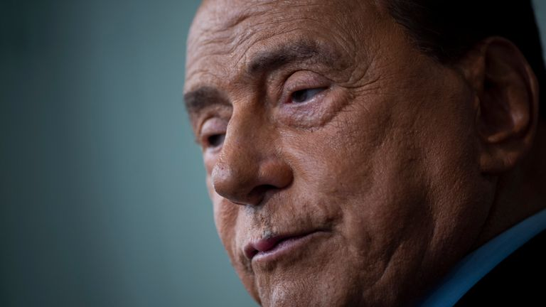ROME, ITALY - AUGUST 22: Forza Italia leader Silvio Berlusconi speaks to the media after a meeting with Italian President Sergio Mattarella on the second day of consultations with political parties on the formation of a new government on August 22, 2019 in Rome, Italy. (Photo by Antonio Masiello/Getty Images)