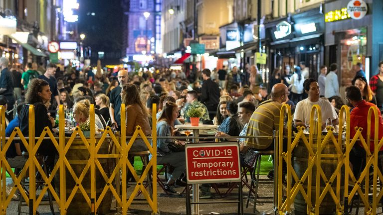 People enjoying a night out in Soho