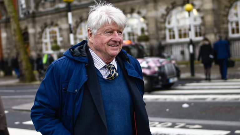 Stanley Johnson, father of British Prime Minister Boris Johnson, is seen on March 04, 2020 in London, England. (