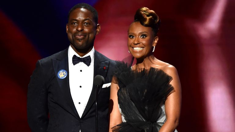 Sterling K Brown and Ryan Michelle Bathe speak on stage during the 51st NAACP Image Awards, Presented by BET, at Pasadena Civic Auditorium on February 22, 2020 in Pasadena, California