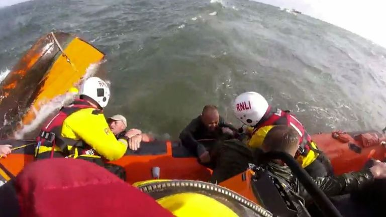 Three men were rescued after their boat capsized Pic: Sunderlaned RNLI