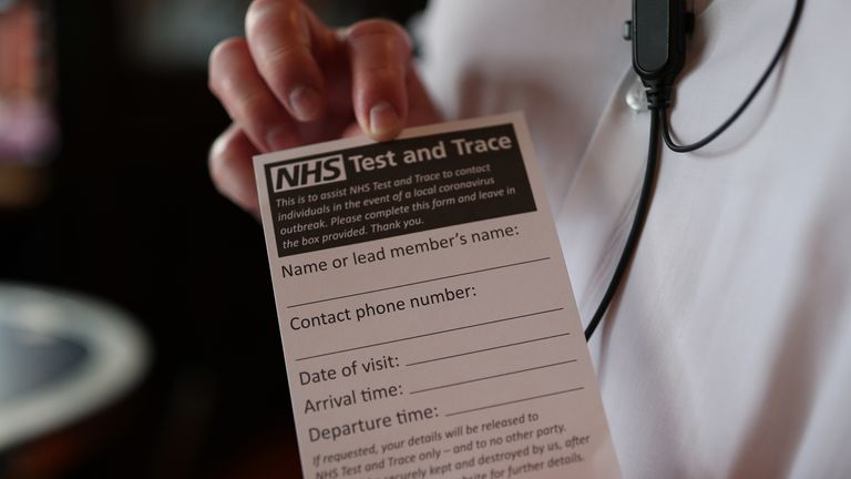 An NHS Test and Trace form offered to pub customers