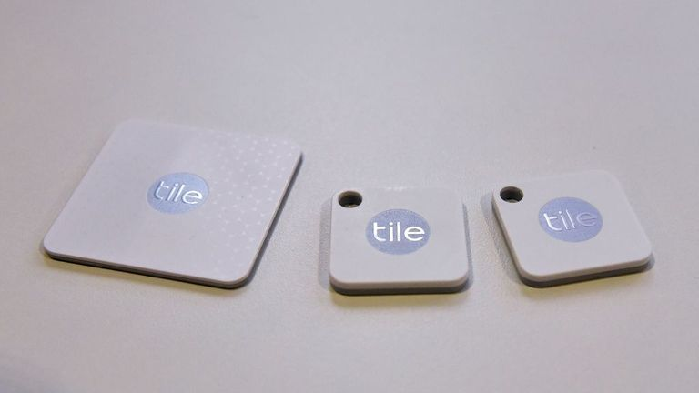 Tile Bluetooth trackers were spotted during CES 2018 in Las Vegas on January 10, 2018. Tile is now compatible with Amazon Alexa and Google Home.  / AFP Photo / Mandel NGAN (Photo credit must be read through Mandel NGAN / AFP Getty Images)