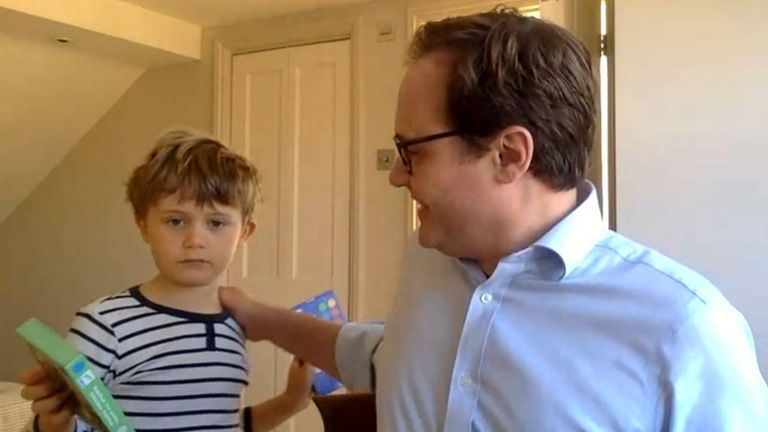 Tom Tugendhat interrupted by children during interview