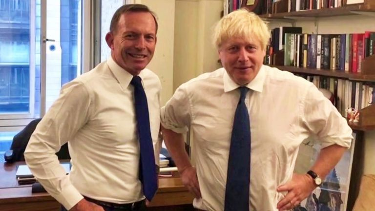 Former Australian PM Tony Abbott meeting Boris Johnson