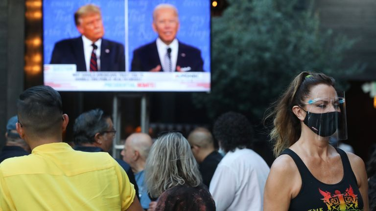 People watching the debate in West Hollywood, California