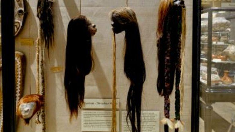 Pitt Rivers Museum at Oxford University - Tsantsa (shrunken heads) on display. Pic: Hugh Warwick