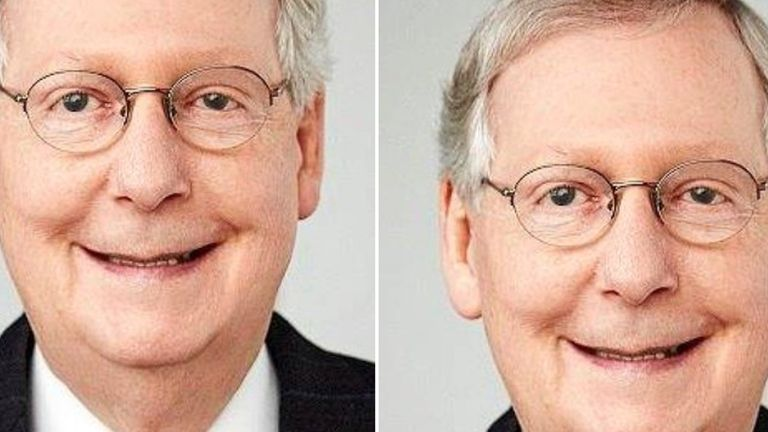 Twitter's cropping tool decided to show a picture of Mitch McConnell instead of Barack Obama: Pic: @bascule