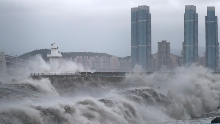 High waves caused by Typhoon Haishen crash at seawall in Busan, South Korea, September 7, 2020. Yonhap via REUTERS ATTENTION EDITORS - THIS IMAGE HAS BEEN SUPPLIED BY A THIRD PARTY. SOUTH KOREA OUT. NO RESALES. NO ARCHIVE.
