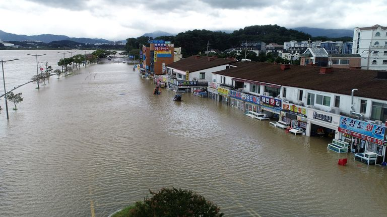 A street and seafood restaurants submerged by typhoon Haishen are pictured in Gangneung, South Korea, September 7, 2020. Yonhap via REUTERS ATTENTION EDITORS - THIS IMAGE HAS BEEN SUPPLIED BY A THIRD PARTY. SOUTH KOREA OUT. NO RESALES. NO ARCHIVE.