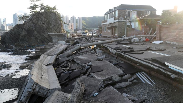 A road damaged by typhoon Haishen is pictured in Ulsan, South Korea, September 7, 2020. Yonhap via REUTERS ATTENTION EDITORS - THIS IMAGE HAS BEEN SUPPLIED BY A THIRD PARTY. SOUTH KOREA OUT. NO RESALES. NO ARCHIVE.