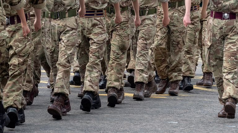 Aberdeen, Scotland, UK - 29th Jun, 2019 : Military personnel, veterans and cadets taking part in a parade along Union Street, Aberdeen, to mark Armed Forces day 2019 in the UK.