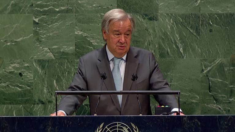 UN secretary general Antonio Guterres addresses the meeting