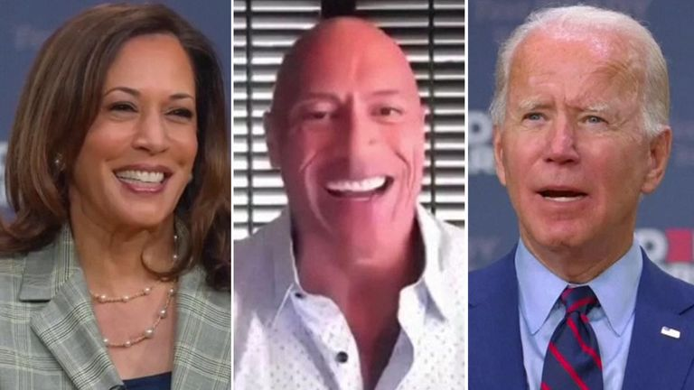Actor Dwayne Johnson endorses a US presidential candidate for the first time and backs Joe Biden in the 2020 election.