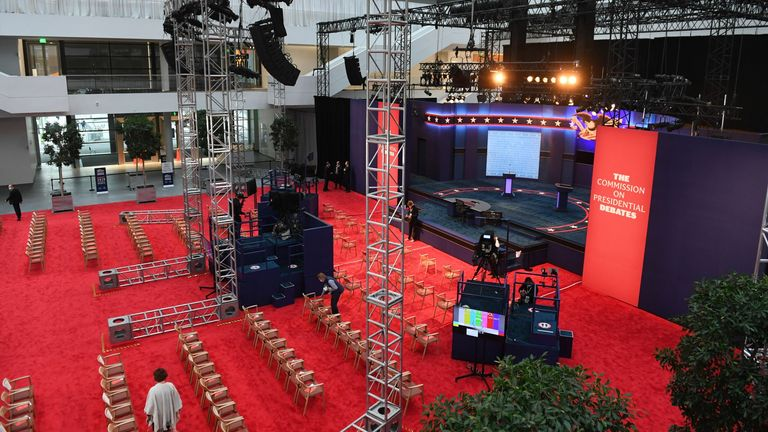 The stage of the first US Presidential debate is seen at the Case Western Reserve University and Cleveland Clinic in Cleveland, Ohio on September 29, 2020