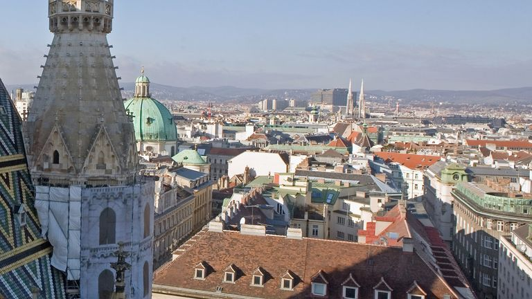 A general view over Vienna, Austria