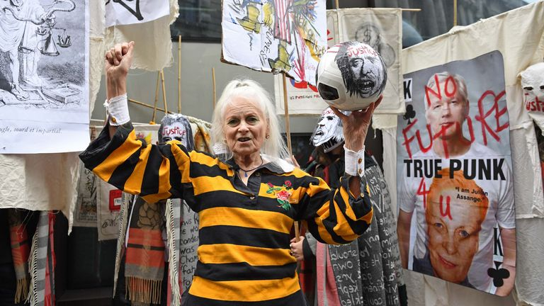 Fashion designer Vivienne Westwood was outside the Old Bailey in support of Assange