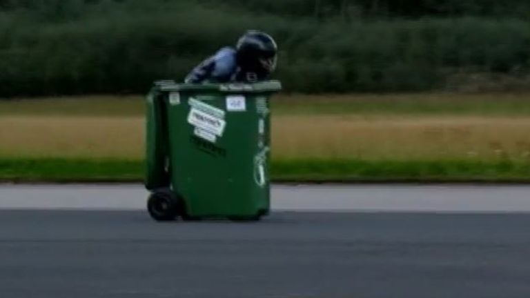 Andy Jennings reaches just over 43mph in a wheelie bin