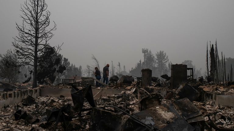 A couple in Oregon find their home destroyed by wildfires