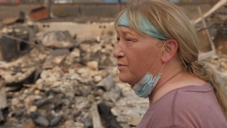 Marcie Barlow is seeing her burned home for the first time