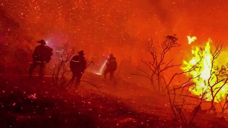 A Californian fire captain documented his crew's battle against the 5,350-square acre Valley Fire east of San Diego on September 6
