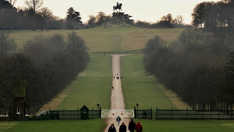 A view of the Statue of King George III seen from the Long Walk in Windsor Great Park