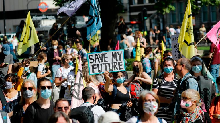Activists from the climate protest group Extinction Rebellion are protesting in and around Parliament Square in London