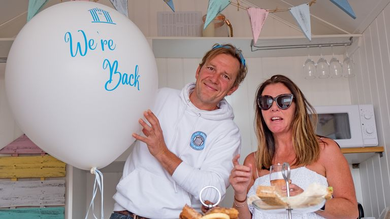 Stuart and Zoe Robertson, pictured, own beach huts on a Lancashire seafront