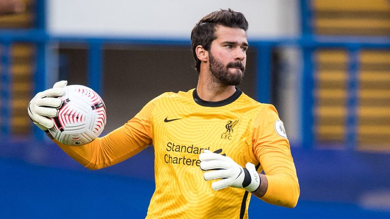 Alisson kept his first clean sheet of the season in Liverpool's 2-0 win at Chelsea last Sunday