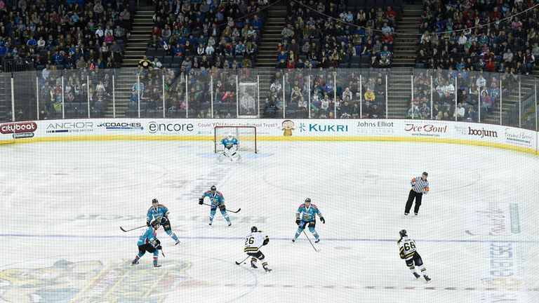 eneral view of the Belfast Giants game against the Nottingham Panthers in the UK Elite League at the game at the Odyssey Arena (now SSE Arena)