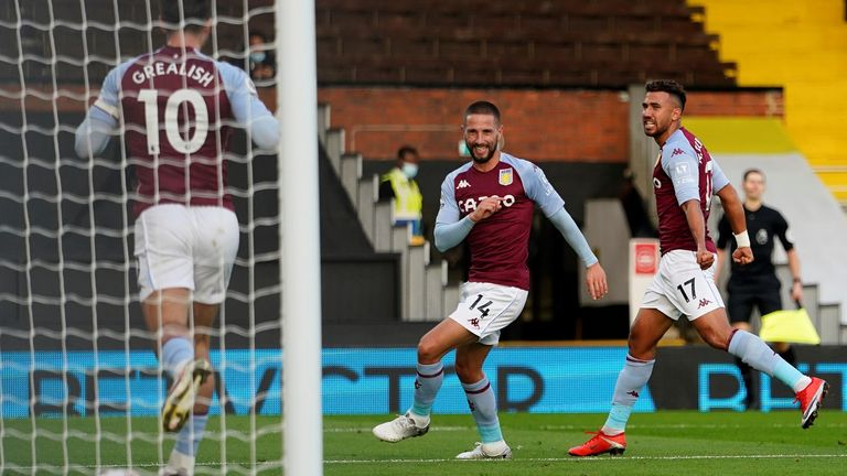 Conor Hourihane celebrates after doubling Villa's lead at Craven Cottage