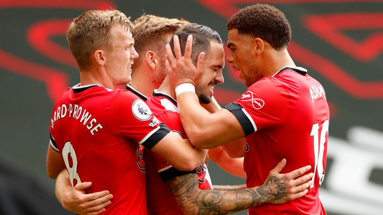 Danny Ings celebrates after putting Southampton ahead