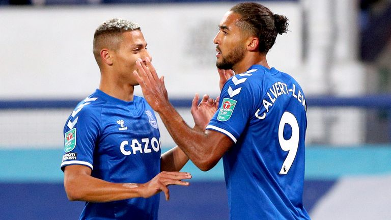 Everton's Dominic Calvert-Lewin (right) celebrates scoring his side's first goal against West Ham with team mate Richarlison