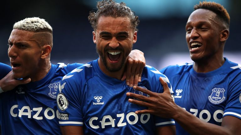 Everton's Dominic Calvert-Lewin (centre) celebrates scoring his side's first goal of the game during the Premier League match at the Tottenham Hotspur Stadium, London.