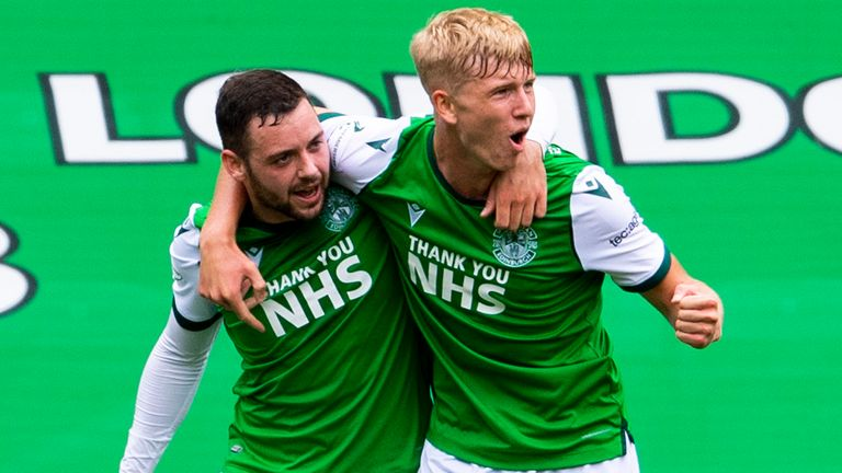 Drey Wright celebrates with Josh Doig after making it 1-0 to Hibs against Rangers