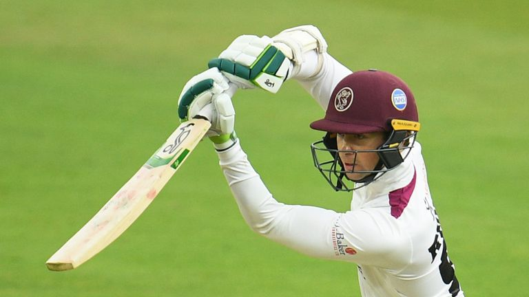 Eddie Byrom of Somerset plays a shot for four during Day One of the Bob Willis Trophy Final match between Somerset and Essex at Lord's Cricket Ground on September 23, 2020 in London, England.