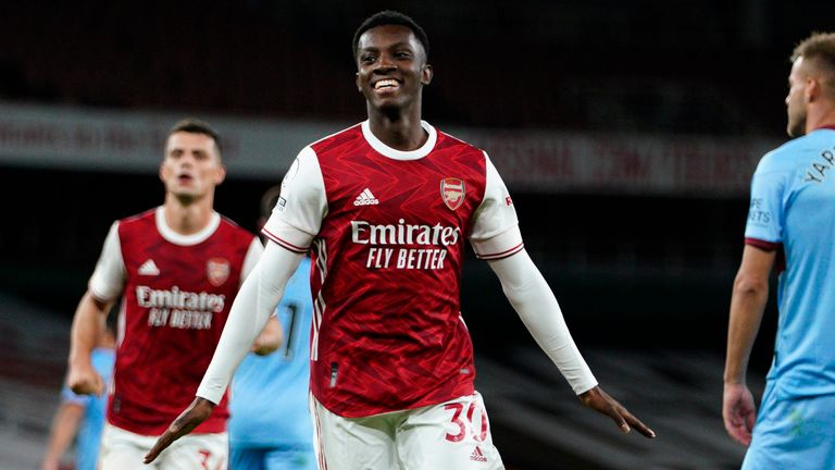 Eddie Nketiah celebrates after restoring Arsenal's lead
