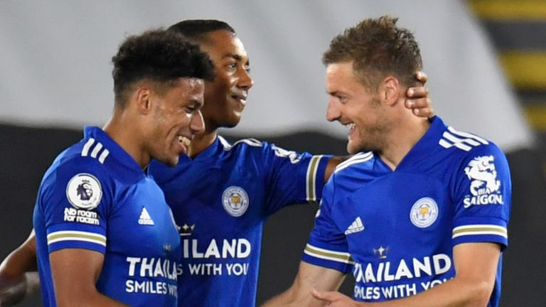 James Justin celebrates putting Leicester 3-1 up