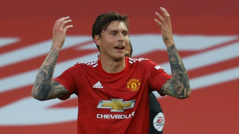 Victor Lindelof reacts after conceding a penalty for handball in Man Utd's defeat at home to Crystal Palace