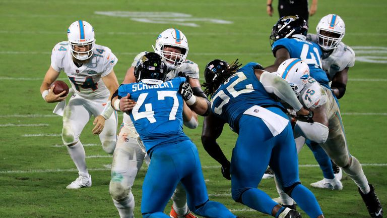 Miami Dolphins dial up the QB draw for Ryan Fitzpatrick to score a TD against the Jacksonville Jaguars